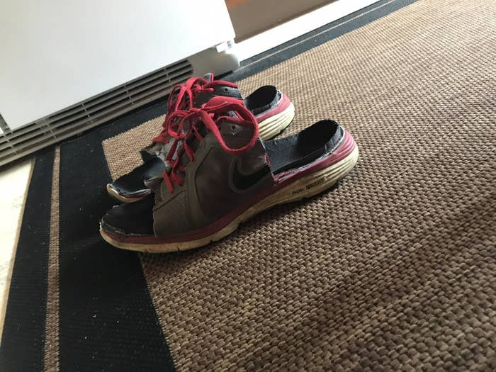 """Lindsay said her dad explained """"he really liked those sneakers because they were comfy.""""""""So instead of throwing them out he grabbed some scissors and a utility knife and made them into sandals so that he could still wear them,"""" she said."""