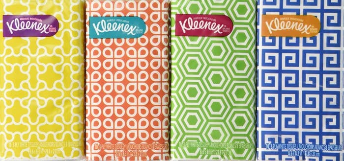 Four to-go packs with different geometric patterns