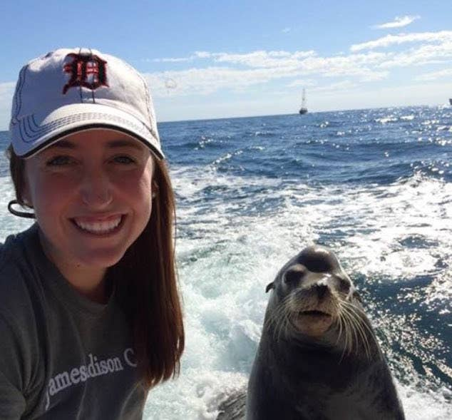 """""""Our captain said that this happens all the time and they were very friendly,"""" Raylin said of the animal.Raylin even got a cute photo opp with the friendly seal before he splashed back into the sea."""