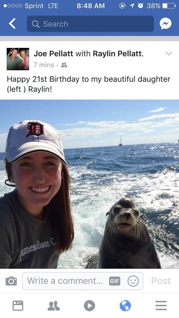 "Last Friday, Raylin turned 21. To celebrate, Joe decided to post the seal photo of his daughter. But he decided to have a little fun with it too. As the caption he wrote: ""Happy 21st birthday to my beautiful daughter (left) Raylin!"""