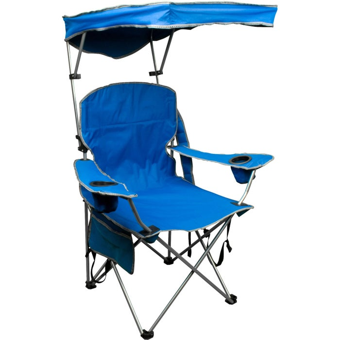"""Promising review: """"I purchased two for the beach to have an all-in-one chair/umbrella. The chairs are very comfortable and easy to open/shut, as is the canopy. The canopy is sturdy and can also be easily adjusted to various heights and angles to ensure proper shade from the sun. There is also a pocket on the side for your phone/keys/etc. I really am happy with this purchase!"""" —guardinanangelGet it from Amazon for $34.99.Or if you want a super extra chair that has a fold-out table (with shelves!) and a larger cooler, check this one out."""