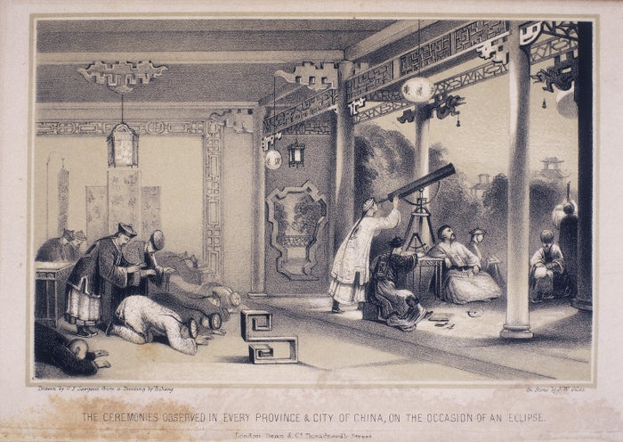 This 1836 print shows Chinese astronomers observing and measuring an eclipse of the sun using a telescope and other instruments.