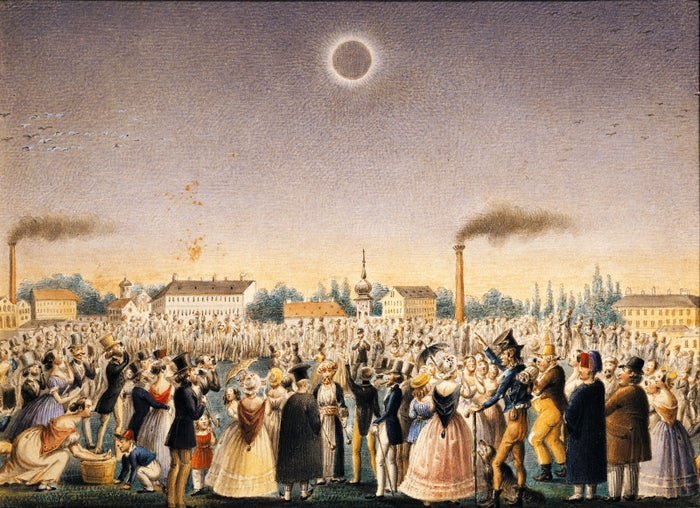 """This painting by Johann Christian Schoeller, titled """"The Total Eclipse of the Sun,"""" depicts the scene in Vienna, Austria, during the July 8, 1842, solar eclipse."""