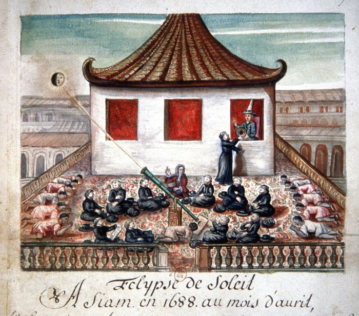 This French watercolor from the late 17th century depicts a solar eclipse observed by a party of French Jesuits in Siam (now Thailand) in April 1688.