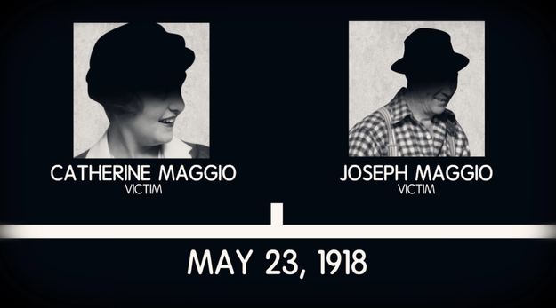 The first suspected attack was on May 23, 1918. Both victims, Catherine and Joseph Maggio, were not only attacked by an axe, but also had their throats cut.