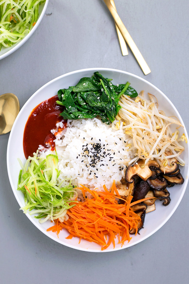 Bibimbap — a Korean staple that's a mix of rice + veggies + meat + sauce — is the perfect canvas for a budget-friendly dinner. In this vegan version, pricier meat gets swapped out for mushrooms. Get the recipe.