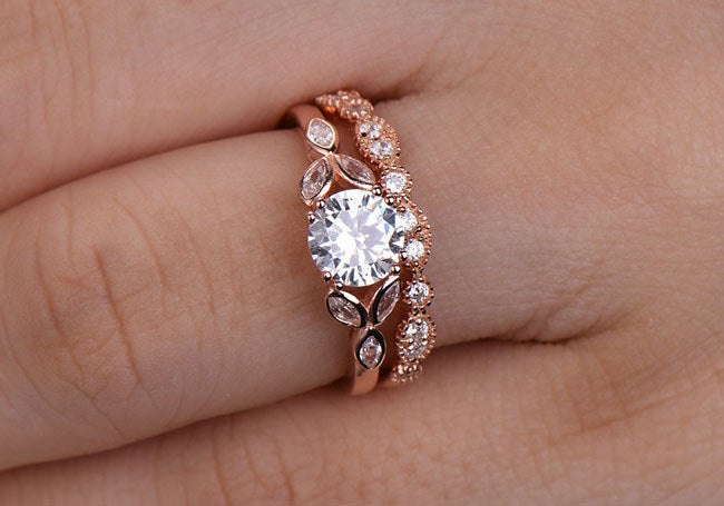 """Promising Review: """"These are such beautiful rings, and the pictures in the item description don't do them justice. Don't let the low price underplay the quality. You'll love this set!"""" —Wesleypez Get it from Arts Jewel on Etsy for $106 (available in four finishes, sizes 3.5-9.5)."""