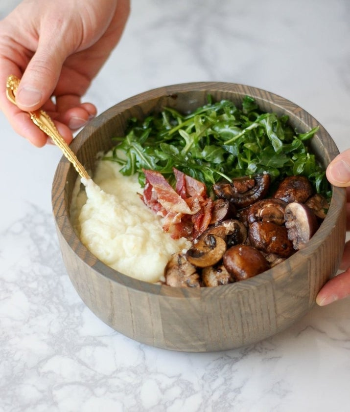 Loaded with crispy bacon, sautéed mushrooms, and spinach, these hearty breakfast bowls are like a new take on grits. Get the recipe.