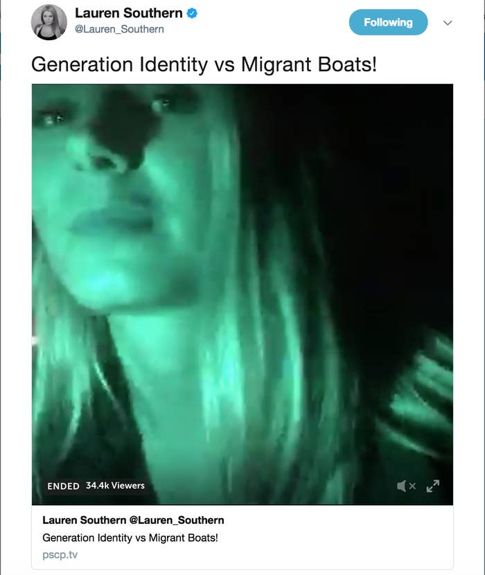 In her small boat were Italian, Austrian, and French members of a pan-European far-right group called Generation Identity.Generation Identity is part of a larger movement called the Identitarian Movement, which started in France in 2002. The youth organization has chapters in most European countries. Its main focus for the last few years has been opposing immigration throughout Europe — particularly after the 2015 European refugee crisis.Southern and the Identitarians took their small boat out into the Mediterranean Sea and proceeded to shoot flares at a ship called the Aquarius, a 250-foot-long vessel operated by a charity called SOS Méditerranée and Médecins Sans Frontières (also known as Doctors Without Borders).