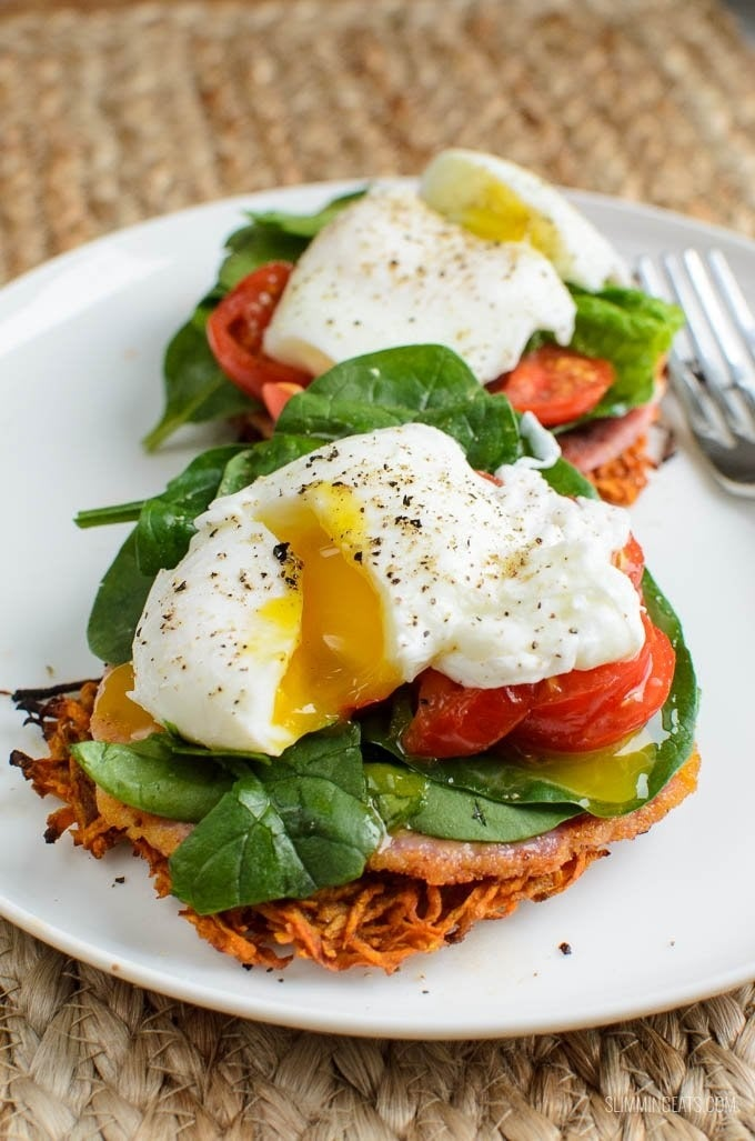 Introducing: Sweet potato hash browns on the bottom, and runny poached eggs on top. Get the recipe.