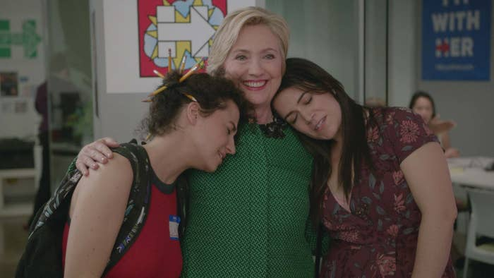 Glazer and Jacobson with Hillary Clinton in Broad City Season 3.