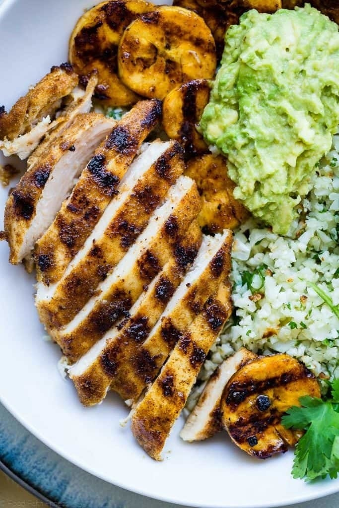Start with homemade or store-bought cauliflower rice at the base, and top these flavorful bowls with spiced chicken, mashed avocado, sweet plantains, and a drizzle of honey. Get the recipe.