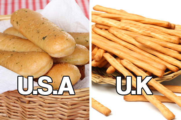 American breadsticks being like small baguettes instead of crunchy, slim things.