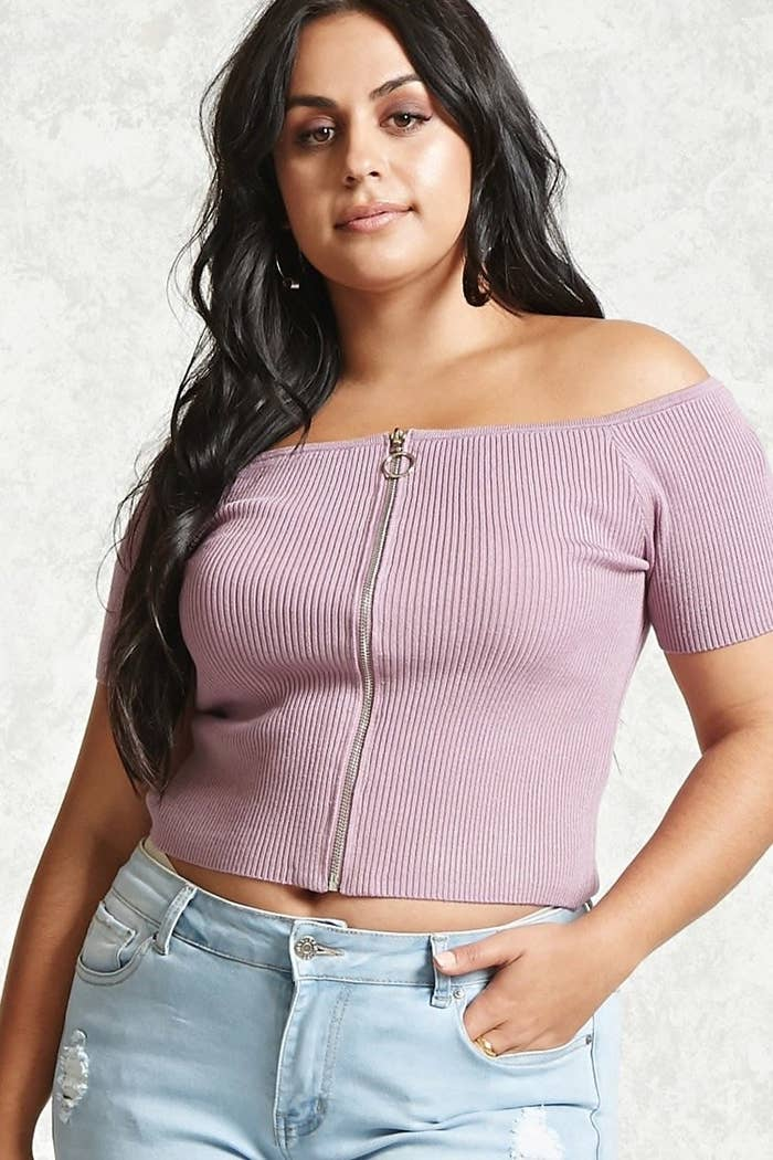 218ce185329ea This zip-front off-the-shoulder top is perfect for whatever you have  planned during the day and is good to wear into the night too. Get it from Forever  21 ...
