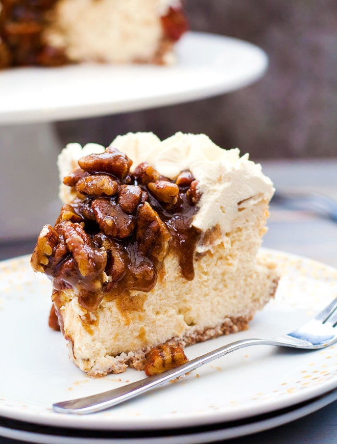 Just imagine sinking your teeth into this pecan and walnut crust topped with creamy vanilla cheesecake and bourbon pecan topping. The best part: You can make it ahead of time and keep it in the fridge for up to three days. Get the recipe.