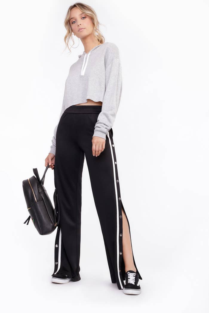 Keep it cool, casual, and cropped this season. Pair some side-snap pants with a cropped hoodie for an edgy yet carefree look.