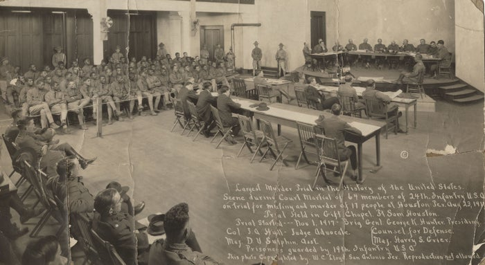 Members of the 24th Infantry Division stand trial against an all-white jury. In 1917, this was the largest murder trial in the US.