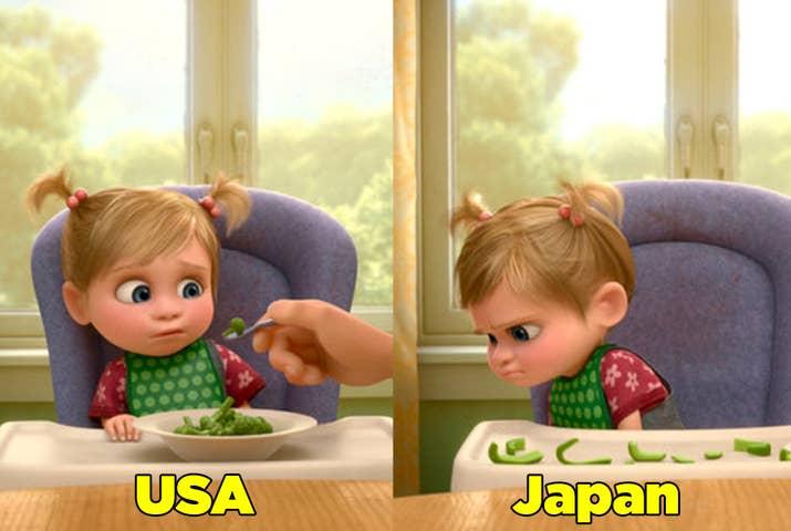 En la versión estadounidense Riley no quiere comerse el brócoli, mientras que en la versión japonesa le dan asco los pimientos verdes.