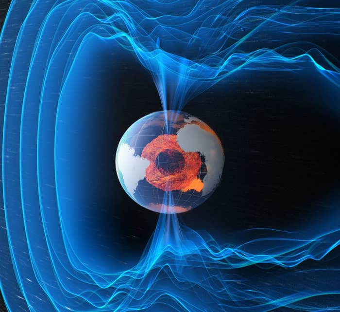 Over the last 20 million years, Earth's magnetic field has flipped its polarity about once every 200,000 to 300,000 years. For the last 780,000 years, we've been stuck in our current magnetic configuration, although there are signs that right now something is afoot. Earth's magnetic field appears to have been weakening at a rate faster than you'd get with normal variations. And there's a patch inside the Earth underneath southern Africa that appears to have reverse polarity – if you could use a compass down there, the arrow would point south. This is the sort of behaviour we might expect if a pole reversal was on its way.