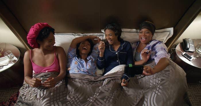 Dina (Tiffany Haddish), Lisa (Jada Pinkett Smith), Ryan (Regina Hall), and Sasha (Queen Latifah) in Girls Trip.