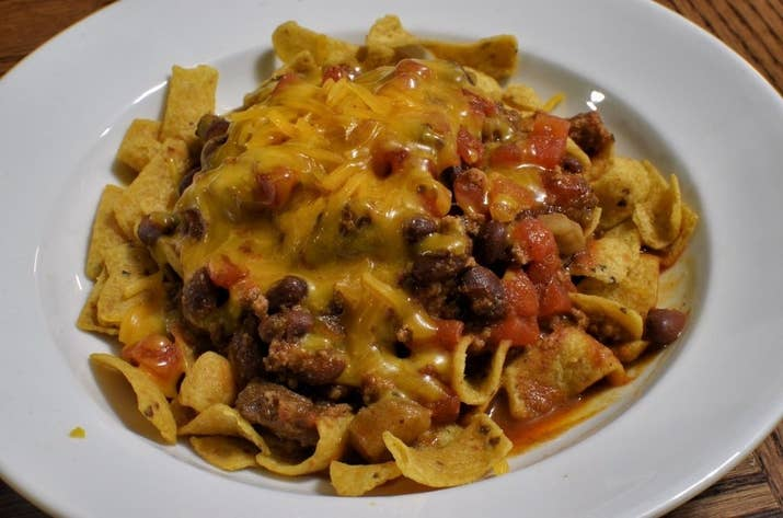 Basically, it's like chili cheese nachos but with Fritos instead of tortilla chips. Enjoy.