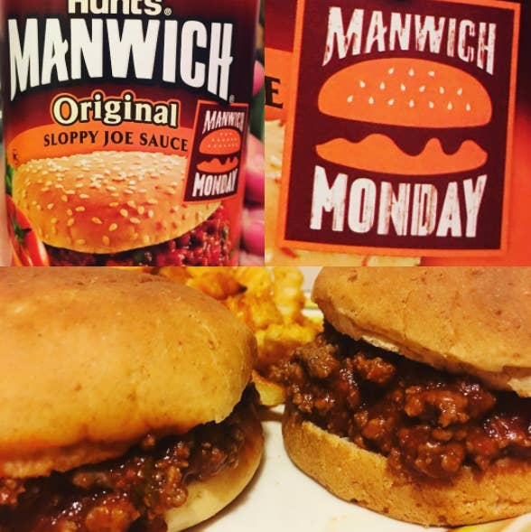This sandwich (which you can either get from a can or make from scratch) consists of ground beef, onions, tomato sauce/ketchup, Worcestershire sauce, and other seasonings.