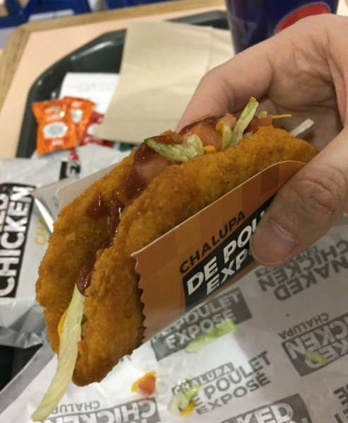 Taco Bell's now-gone taco with a fried chicken shell. RIP.