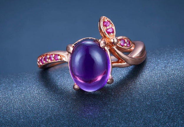 A majestic oval amethyst ring to make your engagement even more of a fairytale.
