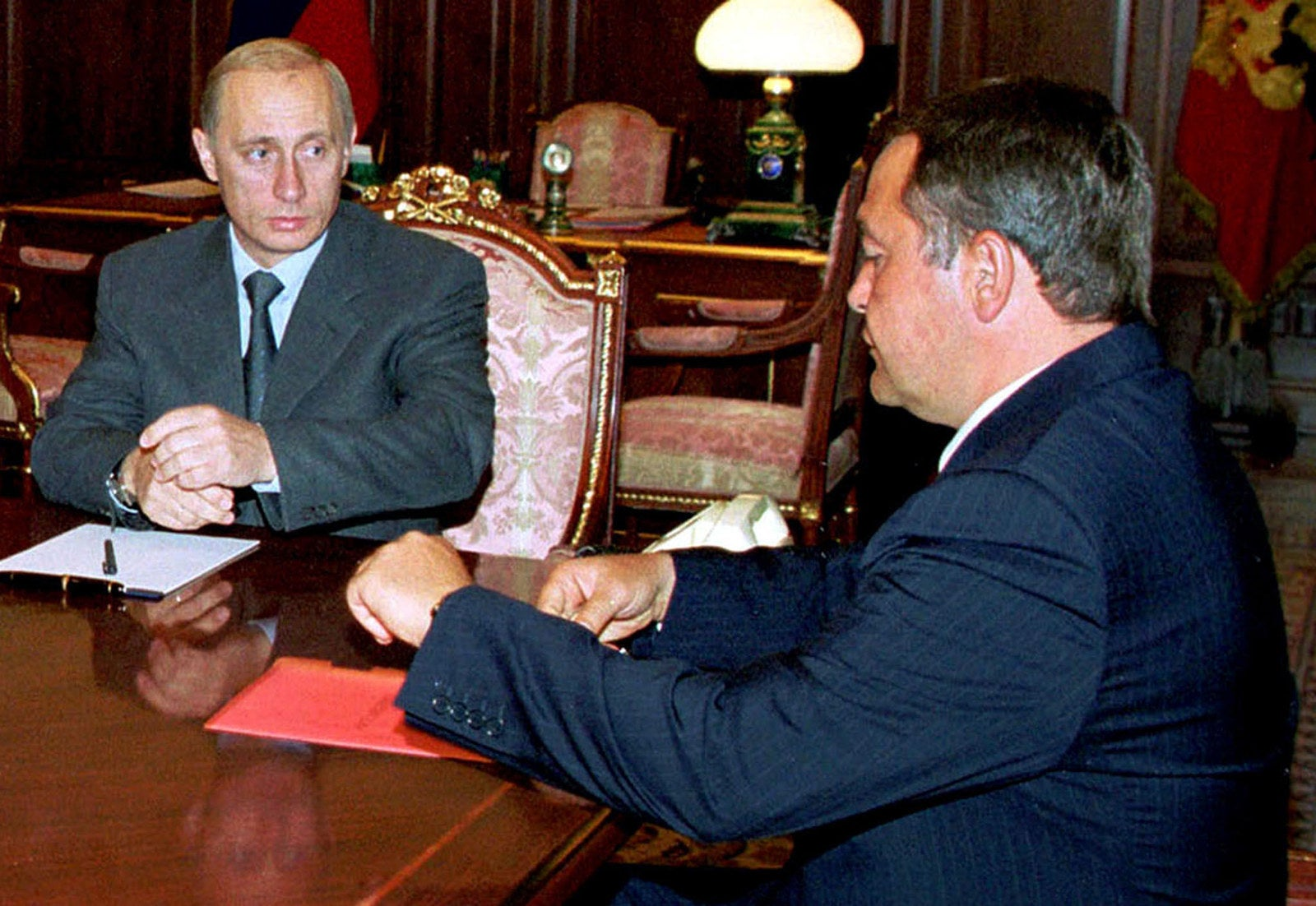 Vladimir Putin and Mikhail Lesin in the Kremlin.