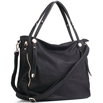 9bfd8b39576b A leather shoulder bag that can fit everything from your laptop to planners.