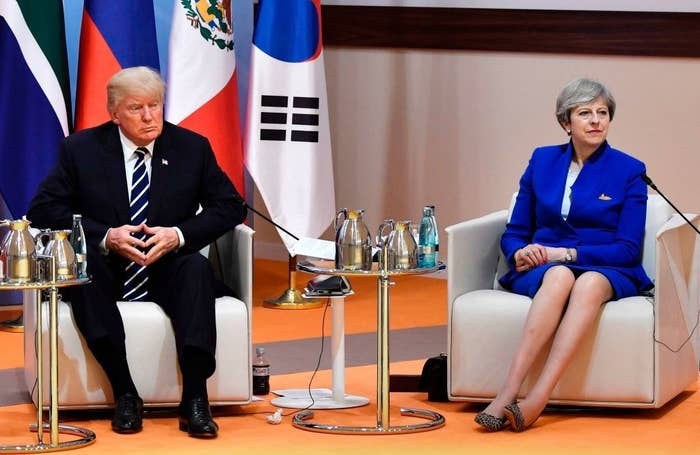 "US President Donald Trump and Britain's Prime Minister Theresa May at the start of the ""retreat meeting"" on the first day of the G20 summit."