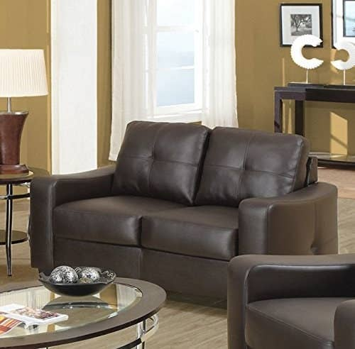 "Promising Review: ""I absolutely love this couch. I purchased this for my man cave, and it fits perfectly. The seating is very comfortable. It's more comfortable than the pieces of modern furniture we paid an expensive amount for in our living room. It's spacious for two people to sit on, and comes in a nice brown color."" —Darryl GicksPrice: $393.48"