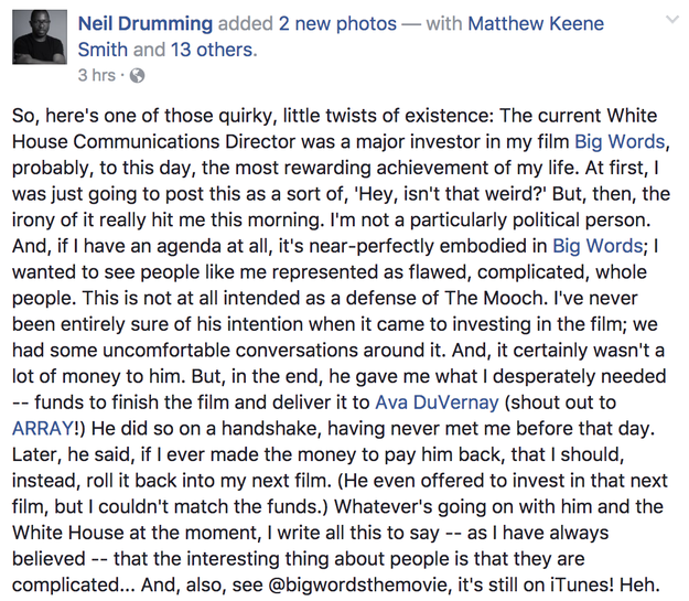 On Friday, Big Words director Drumming shared his experience working with Scaramucci on the project on Facebook.