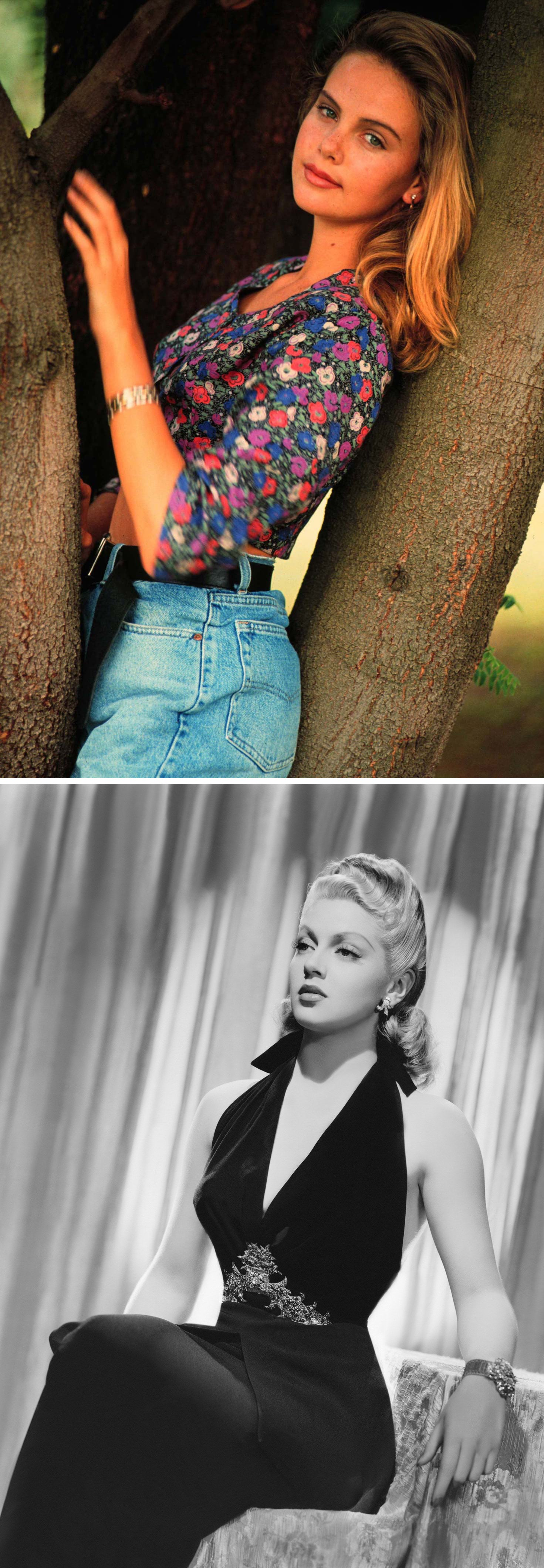 A portrait from Charlize Theron's early modeling career in 1991 (left) and Lana Turner.