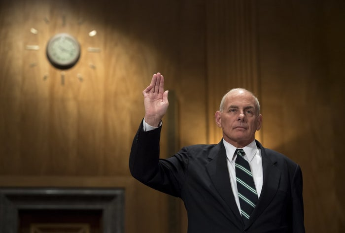 Secretary of Homeland Security John Kelly is sworn before testifying at a Senate hearing on Capitol Hill in Washington, DC, June 6, 2017.