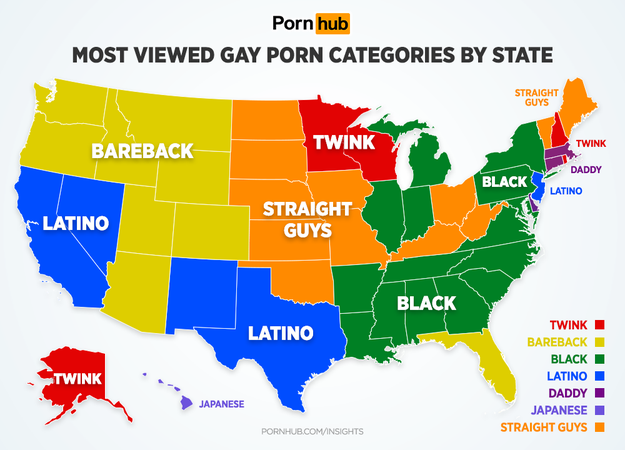 Looking specifically at the US, Pornhub has shown us what the most popular categories are by state.