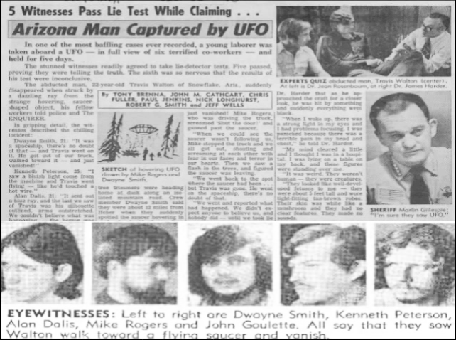 In November 1975, six forestry workers in Arizona reported seeing their colleague Travis Walton blasted through the air in a beam of light from a UFO above the trees. The workers reported Walton missing, and police suspected he had been murdered by the group who had disposed of his body.But five days later Walton reappeared, claiming he had been abducted by aliens. He described waking on a table, surrounded by small figures in orange gowns. Their skin was smooth and chalky, and their bald heads were too large for their bodies. They had huge, shiny brown eyes.Walton escaped from the aliens, and fled through the ship. He eventually met more humans on board, dressed in blue uniforms. They didn't speak to him but forced a gas mask on to his face so he lost consciousness. Walton claims the next thing he remembers was waking up, shaky and confused, on a roadside in Arizona.
