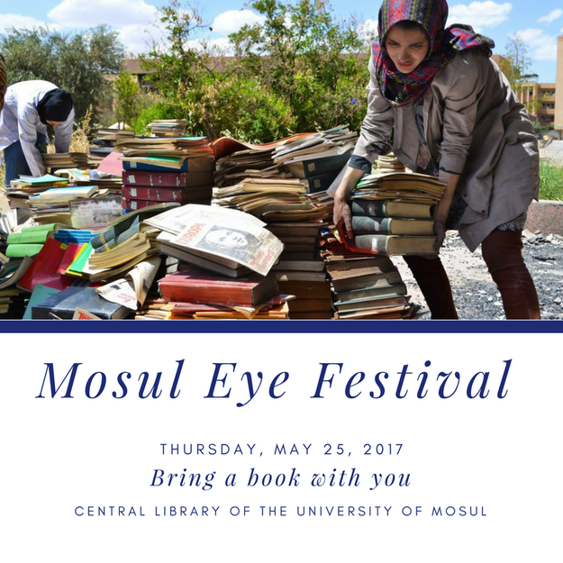 "In May, Mosul Eye organized a cultural festival in front of the central library — and as an admission fee, every guest had to come with a book to donate. ""Please be generous to be remembered for as long as your book's existence,"" he wrote in his invitation."