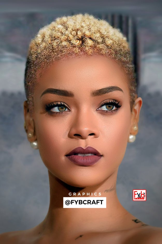 But there's one style we've never seen her rock...until now. Behold, Rihanna, slayer of the big chop!!! Graphic designer Onigbogi Olawale recently used his Photoshop skills to whip up this masterpiece.