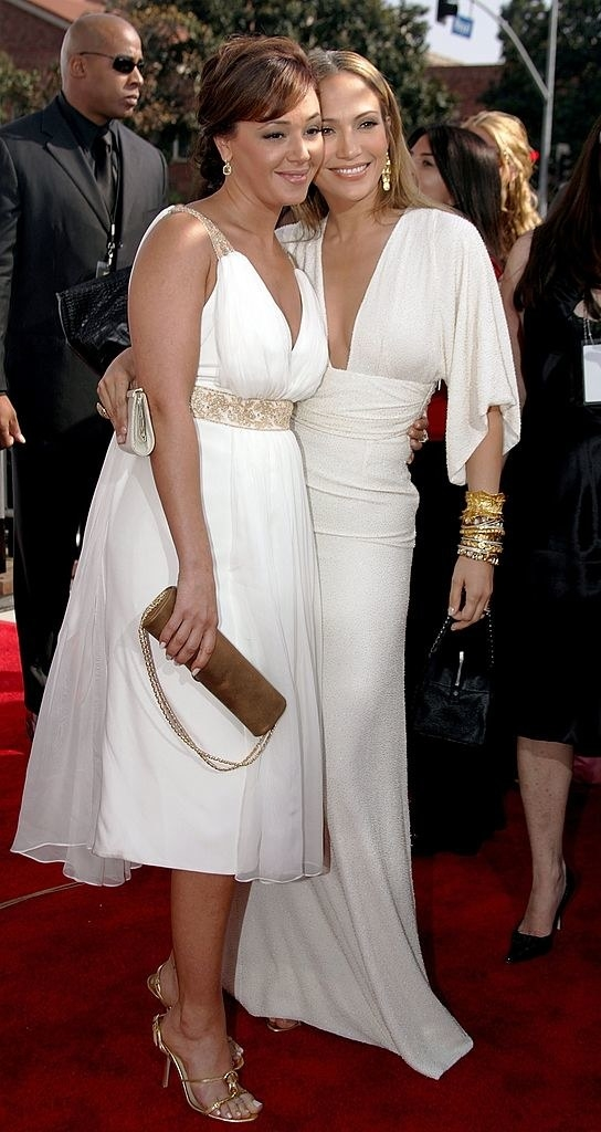 jlo and leah on a red carpet