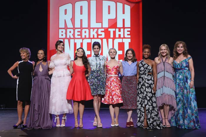 At Disney's D23 Expo on July 14 in Anaheim, California, Paige O'Hara (Belle in Beauty and the Beast), Irene Bedard (Pocahontas in Pocahontas), Mandy Moore (Rapunzel in Tangled), Auli'i Cravalho (Moana in Moana), Kristen Bell (Anna in Frozen), Kelly Macdonald (Merida in Brave), Anika Noni Rose (Tiana in The Princess and the Frog), Linda Larkin (Jasmine in Aladdin), and Jodi Benson (Ariel in The Little Mermaid) joined Silverman on stage.
