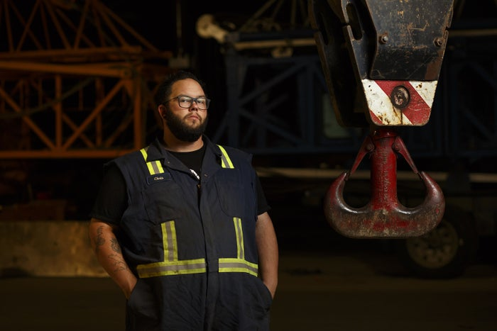 Chris Johnson at work in Edmonton, Alberta, on July 20, 2017. Johnson, a crane operator, struggled with his mental health while working in Fort McMurray and staying in worker camps.