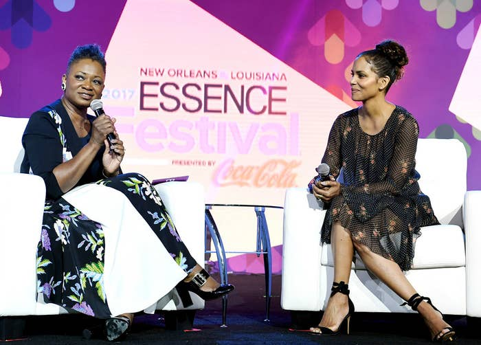 Essence Editor-in-Chief Vanessa De Luca and Halle Berry onstage at the Essence Festival.