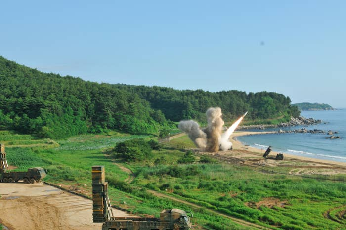 An MGM-140 Army Tactical Missile fired into the East Sea on Wednesday by US and South Korean forces.
