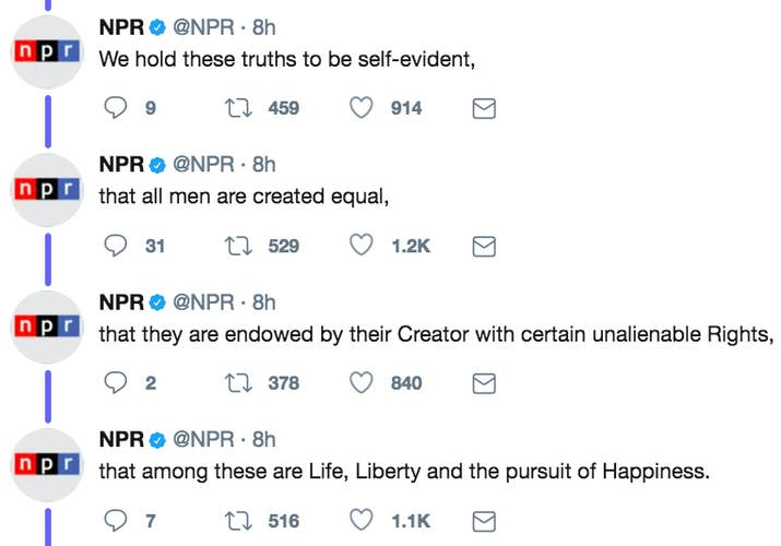 Npr Tweeted The Declaration Of Independence And Some Trump
