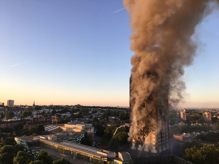 Grenfell Tower on the morning of 14 June.