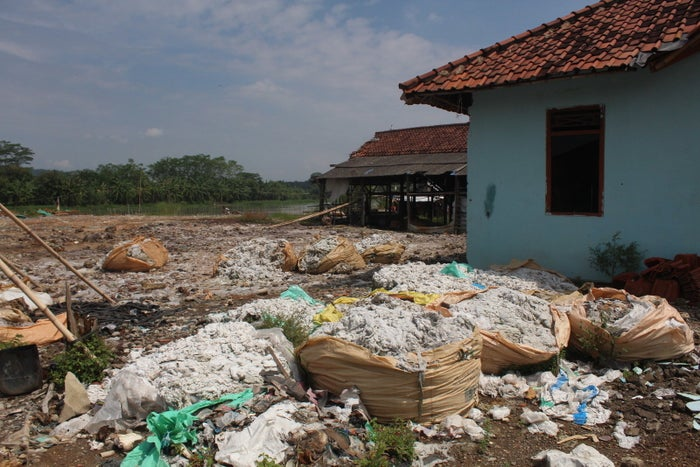 Bags of semi-processed viscose found by researchers in Indonesia.
