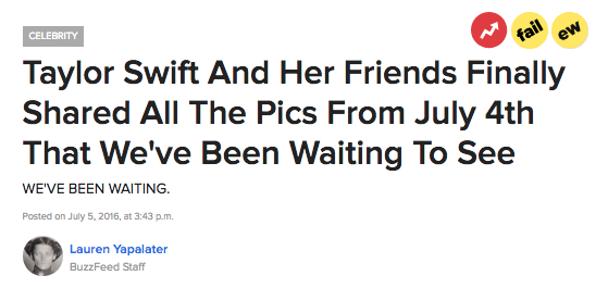Taylor Swift's annual 4th of July party is big news. Every year, all of us uglies wait in anticipation for Taylor and her rich-ass friends to upload a shit ton of pics on all of their Instagram accounts. It's like a party for the 1 percent on speed and skim lattes.