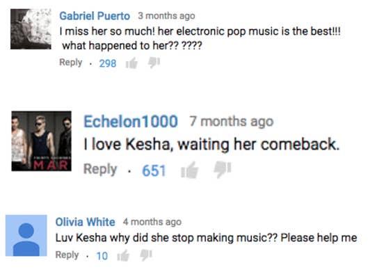 """""""Gabriel PuertoEu sinto tanto a falta dela! sua música eletrônica pop é a melhor!!! o que aconteceu com ela?Echelon1000Eu amo a Kesha, esperando a volta delaOlivia WhiteEu amo a Kesha, por que ela parou de fazer música? Alguém me ajuda"""""""