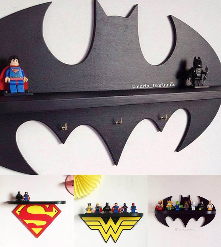 In addition to the options seen above, you can also get shelves featuring Captain America, Spiderman, and The Flash. Buy the Batman one on Etsy for $40, or check out the others for $25-27+.